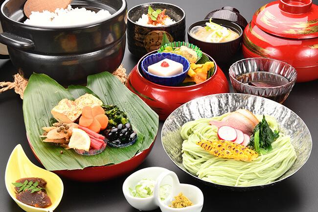春日野素麺膳 抹茶(三輪山勝製麺一筋縄コラボ)